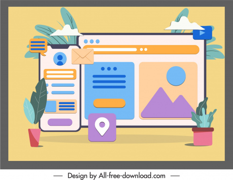 digital application background colorful flat classic design