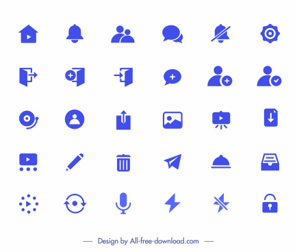 digital application icons collection blue flat symbols sketch