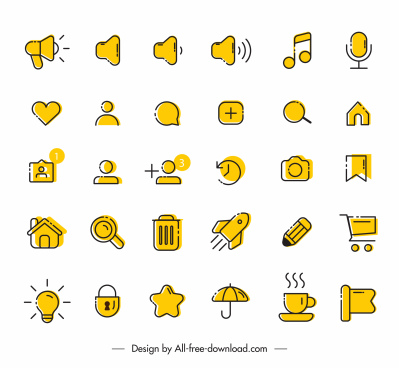 digital application icons collection retro flat design
