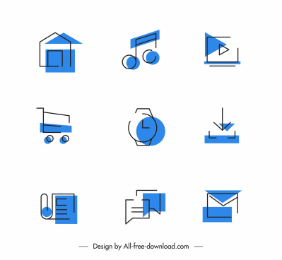 digital application icons flat classic symbols sketch
