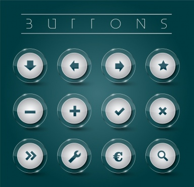 digital button sets shiny white round isolation