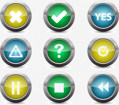 digital buttons collection various shiny rounded shapes
