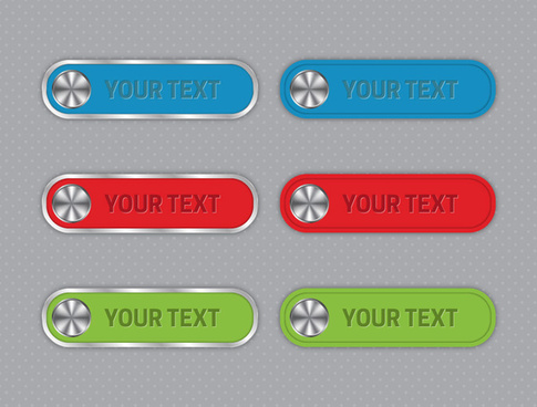 digital buttons design with horizontal tabs with text