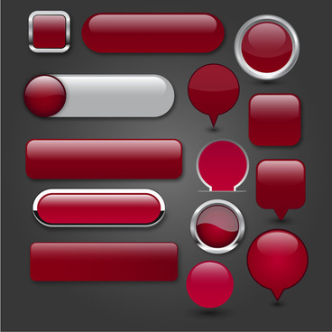 digital buttons set design with shiny red icons
