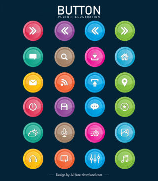 digital buttons templates colorful flat circles shapes