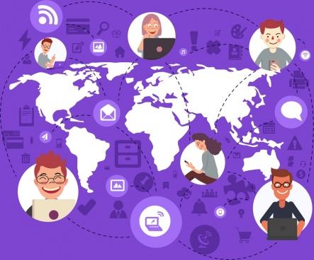 digital communication background human continent internet icons