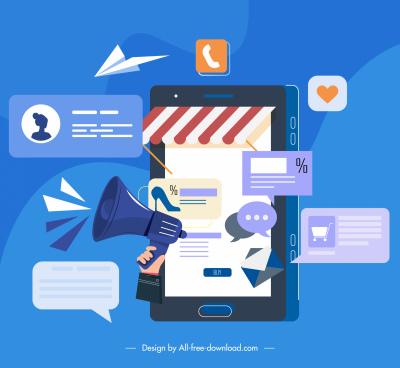 digital communication concept background smartphone media elements sketch