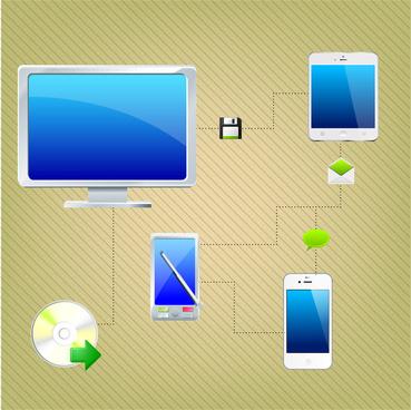 digital connection network flat design illustration