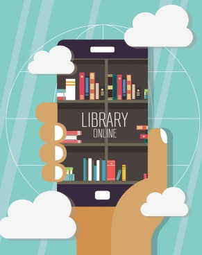 digital library background smartphone bookshelf hand clouds icons
