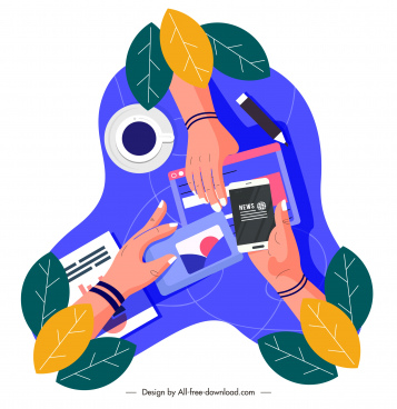 digital lifestyle icon hands electronic devices sketch