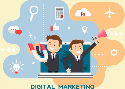 digital marketing background businessmen laptop media elements decor