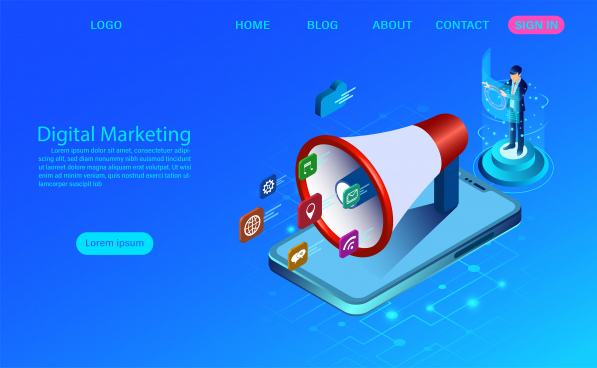 digital marketing concept for banner and website business analysis content strategy and management digital media campaign flat vector illustration with icon