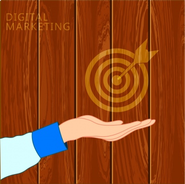 digital marketing concept wooden backdrop hand target icons