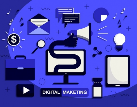 digital marketing design elements communication icons dark design