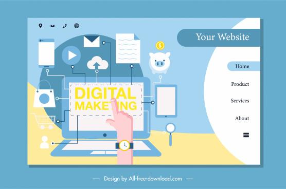 digital marketing homepage bright colorful flat design