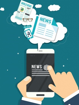 digital media concept background smartphone hands newspaper icons