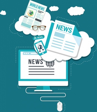 digital news design elements newspaper computer icons
