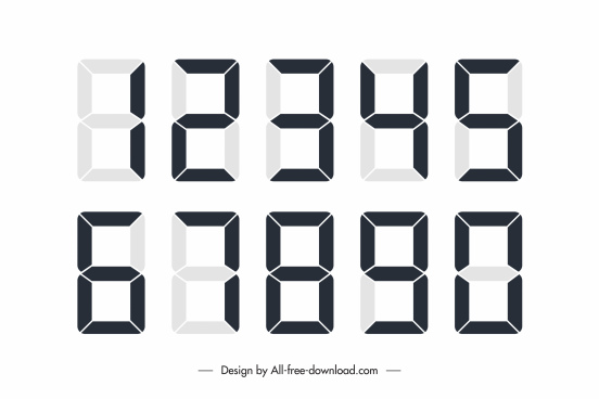 digital number icons flat modern black white