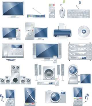 digital products icons shiny colored modern design