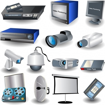 electrical appliance icons colored 3d design