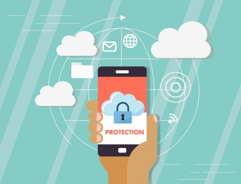 digital security background smartphone clouds lock icons
