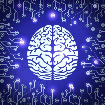 digital technology background brain electronic circuit icons decor