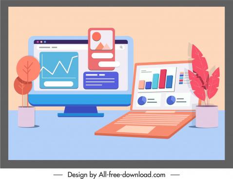digital technology background computers web appliance sketch
