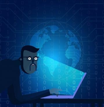 digital technology background man digits globe icons