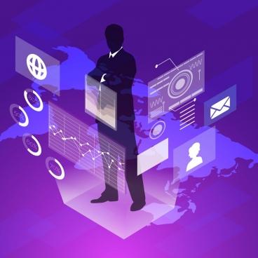 digital technology background modern silhouette 3d design