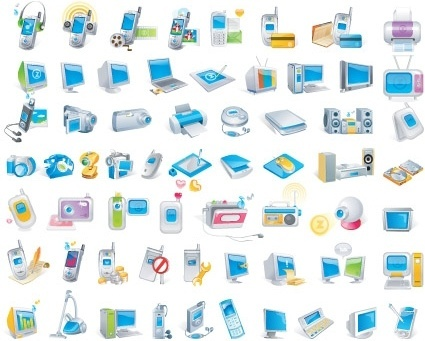 digital technology icons collection various colored symbols