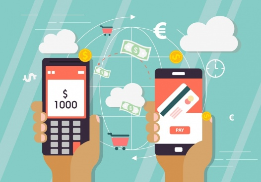 digital transaction background smartphones global money icons