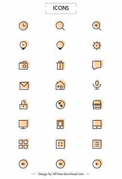 digital ui icons simple flat outline