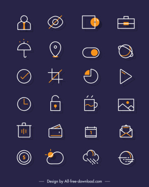 digital ui icons simple flat symbols outline