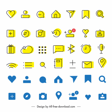digital user interface icons collection classic flat sketch
