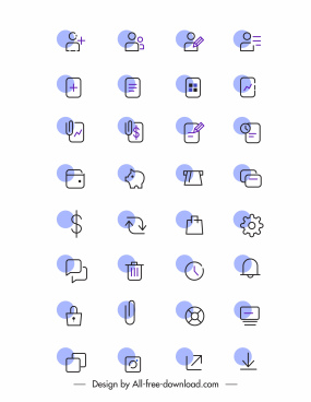 digital user interface icons collection flat handdrawn sketch