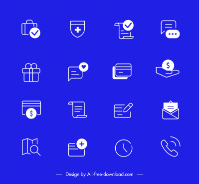 digital user interface icons flat design classic symbols