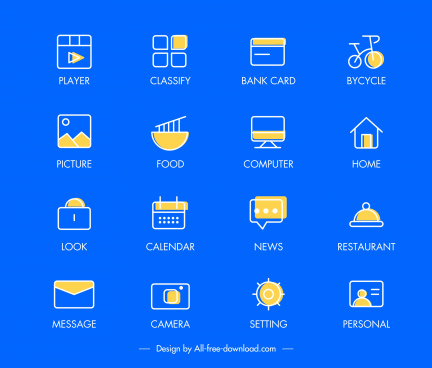 digital user interface icons flat symbols sketch