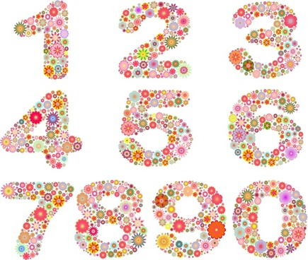 digits icons colorful floras decor