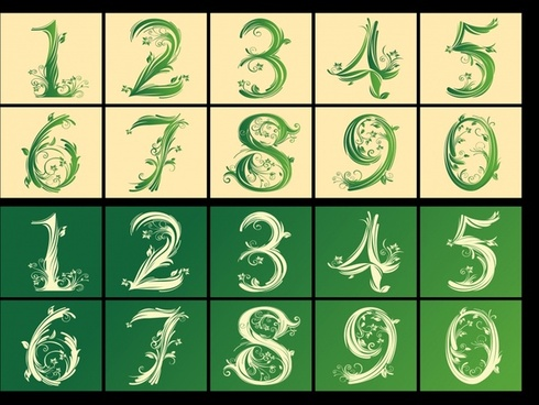 numbers icons templates artistic flowers sketch