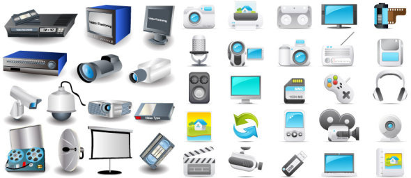 digital video and audio icon vector