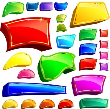 button templates collection modern colorful shiny 3d shapes