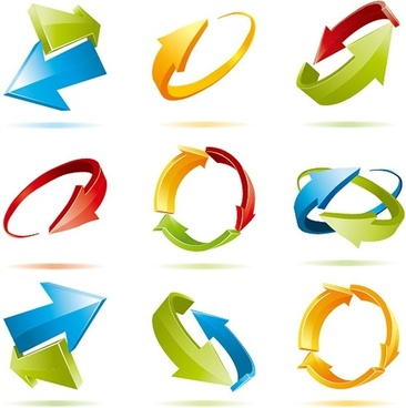 arrows signs templates colorful modern 3d design