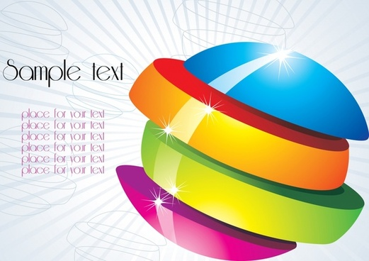 decorative background shiny colorful 3d cut sphere icon