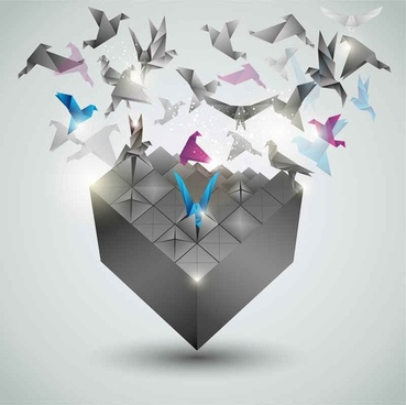 dimensional paper cranes background