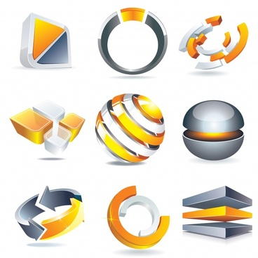 logo templates shiny modern 3d shapes