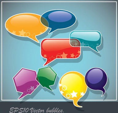 speech bubbles templates modern colorful flat shapes