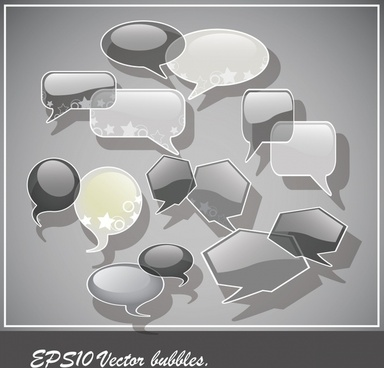 speech bubbles background modern shiny grey decor