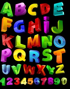 alphabet background colorful 3d shapes decor