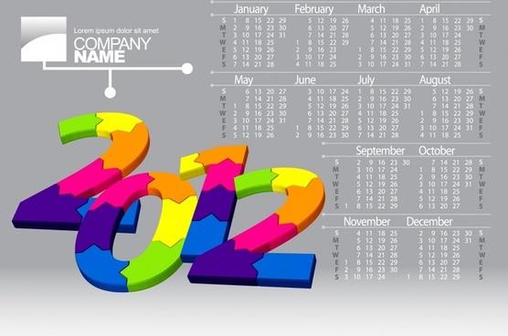 dimensional vector calendar 2012 calendar