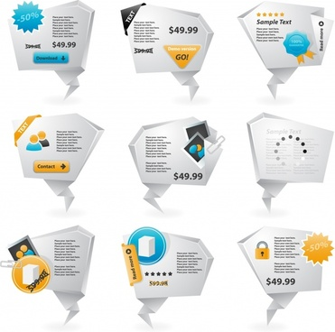 sale tags templates modern 3d origami shapes